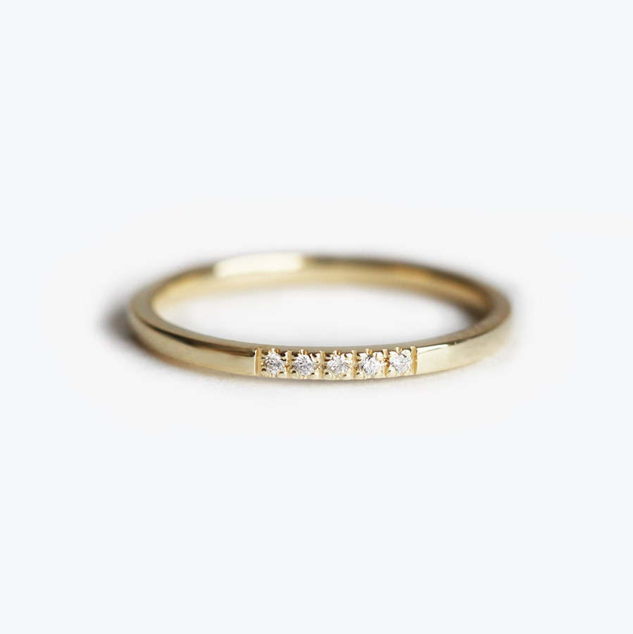 Simplistic Bands: Diamond Wedding Band Simple Diamond Band Pave Thin Band