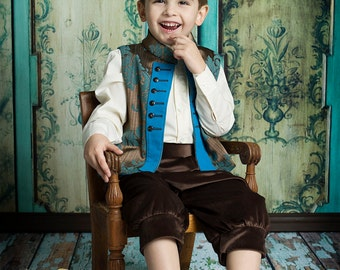 Boys Little Prince Charming Costume: Vest / Waistcoat and Trousers in sumptuous damask fit for any Royal, Czsar or little prince charming