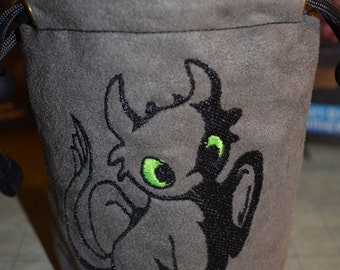 Dice Bag custom Embroidery how to train your dragon Toothless