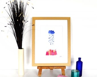Shopping in the Rain Collage Print