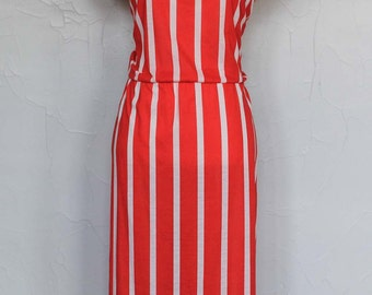 Vintage 1980s Red and White Striped Summer Dress