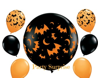 Halloween Balloons with Bats Scary Halloween party balloons Orange and Black latex balloons Halloween Party Decorations