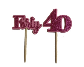 Pink Glitter Forty Cupcake Toppers, Set of 12
