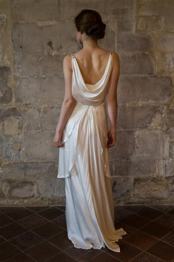 Silk wedding dress great gatsby wedding dress low back v for Wedding dress undergarments low back