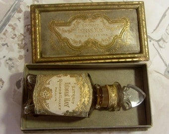 Antique EXTRAIT INDIAN HAY Roger & Gallet, 1890 perfume, Paris French perfume, Casket gold edged box, Rare Antique perfume, French  scent
