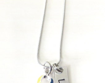 Autism Spectrum Puzzle Piece Customizable Awareness Ribbon Stainless Steel Charm Necklace
