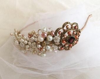 Vintage brooch and pearl headband
