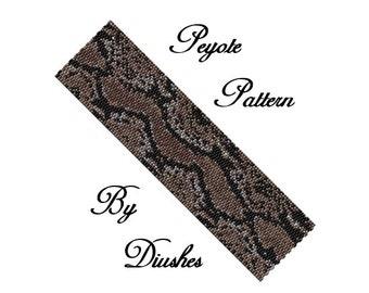 Peyote Beading pattern Bracelet Snake Skin. Even count peyote. Seed bead pattern. Beaded, beadwork, beadwoven, bead graph, wild, peyote