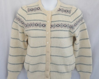 Vintage James Pringle Wool Cardigan Sweater Womens Medium 38 Scotland Ivory Nordic Teal Pearly Buttons New Wool