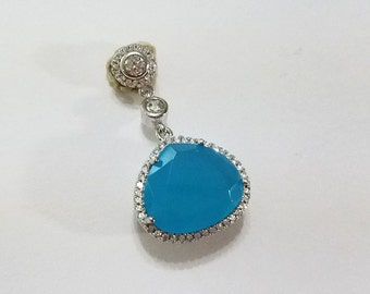 Blue Chalcedony, White Topaz, Solid .925 Sterling Silver, Vintage Style, Pendant, Necklace, Focal, Jewelry, Supply, Supplies