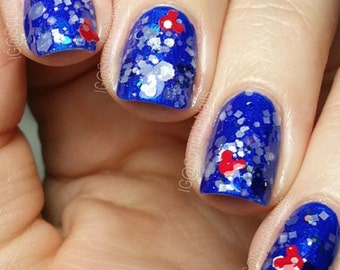 Patriotic Mouse - 15 mL full size bottle - Indie Nail Polish 5-Free Glitter Lacquer