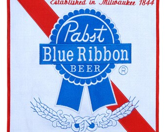Extra Large XXL 30cm Pabst Blue Ribbon Beer Patch Badge for Jacket Sweatshirt