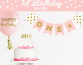 ONE Bunting - Birthday Bunting Banner - Custom Bunting Banner - Pink and Gold Birthday Party Ideas -  Glitter First Birthday Banner (EB3062)