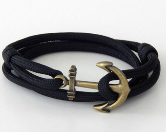 Nautical anchor bracelet black brass tone anchor adjustable