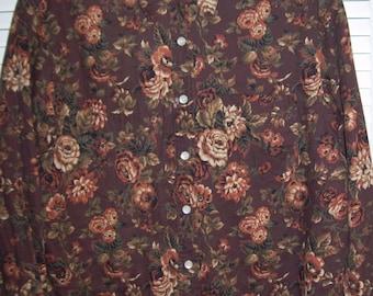 English Shirt, Cottage Roses, 14  Bickett & Ingrish English Cottage Roses Shirt  Size 14 Charming !