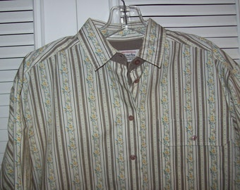 Vintage Talbot's Country Calico Striped  Career Shirt  Blouse Size Med Petite