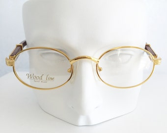 Gold and wood glasses, Cartier frames, Vintage wood eyeglasses, Gold plated brown bamboo wood temple arms, Dead stock, Woodline glasses