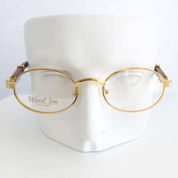 Gold Plated Glasses Frames : Gold and wood glasses Cartier frames Vintage wood