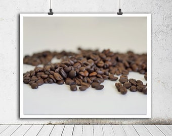 Coffee photography print, coffee bean art, coffee wall art, cafe wall art coffee lovers gift coffee art print coffee shop art kitchen decor