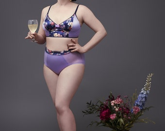 "High waisted panties and no wire bra, ""Malt"" set, sheer mesh sides, floral cotton velvet, satin lila, light purple bralette, deep blue"