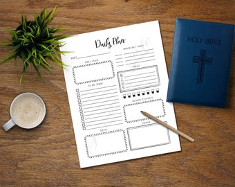 Daily Plan. PDF printable. Instant download. Christian day planner with Scripture and Prayer. Worksheet. Calendar. Notebook. Bible verse.