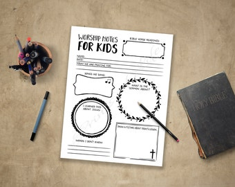 Church License. Worship Notes for Kids. Instant download printable. Sermon Notes: boys, girls, youth, teens. Planner journal. Bible study.