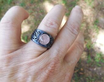 Rose quartz ring, pink quartz ring, rose quartz rings, pink quartz rings, size 7 ring, elven ring,rose quartz jewelry,pink quartz jewelry
