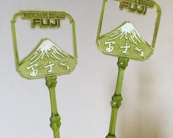 JAPANESE RESTAURANT Swizzle Sticks, Vintage Swizzle Sticks, Restaurante Japones Fuji Swizzle sticks, vintage barware, restaurant souvenir