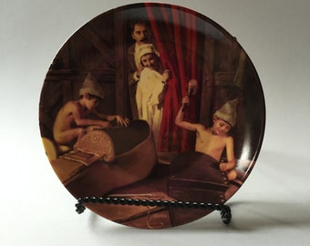 GRIMM'S FAIRYTALE PLATE, The Elves and the Shoemaker plate, commemorative plate, Brother's Grimm plate, German commemorative plate