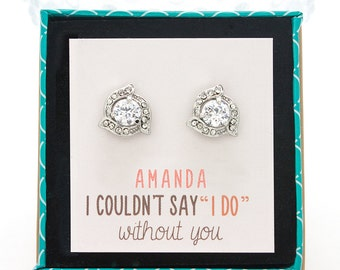 Customized Bridesmaids Gift, Crystal Stud Earrings, Bridesmaid Earrings, Silver Bridal Earrings, Bridesmaids Stud Earrings E278S