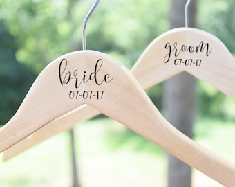 Bride & Groom Set of Two Personalized Hangers, Wooden Wedding Hangers, Bride Hanger, Wedding Dress Hanger