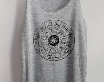 Zodiac Vintage Shirt Art Vintage Tank Top Art T-Shirt Fashion Shirt  Shirt Women Shirt  Women T-Shirt Tunic Top Vest Sleeveless Size S,M,L