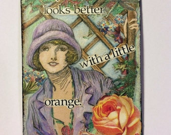 Romantic 1920's Girl in Garden ACEO original collage art card by Tree Pruitt in purple and orange