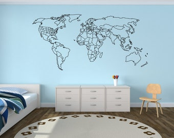World outline etsy large world map wall decal with outlined countries and united states world map sticker gumiabroncs Choice Image