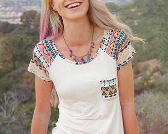 Aztec Tribal Women's Pocket Tee // Boho Clothing - Boho Tee Shirt // Bohemian Top - Tribal Shirt // Street Wear - Mint Green Shirt