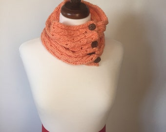 Orange Wool Cowl with Wooden Buttons