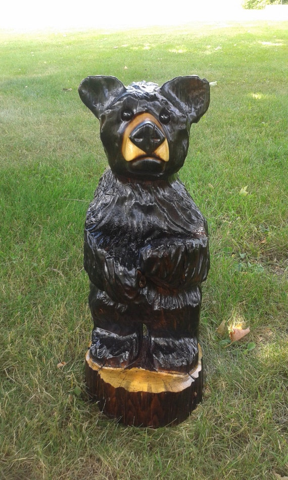 Black bear chainsaw carving wood carved