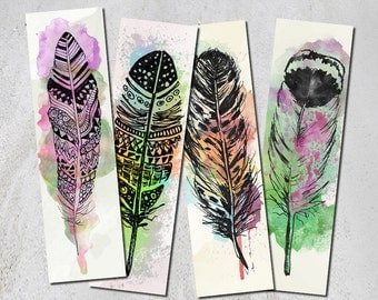 Watercolor feather Bookmark, Set of 4 digital printable bookmarks, Back to school, Book lovers gift, Digital collage sheet, Instant download