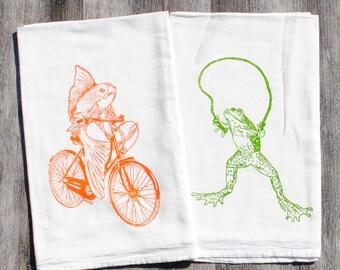 Cotton Kitchen Towel Set of 2 - Screen Printed Cotton - Flour Sack Dish Towel - Frog and Fish on Bike Tea Towels
