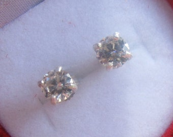 Silver Moissanite Earrings, Round Brilliant Cut Moissanite Sterling Studs