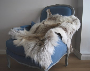 Beautiful! Rare Light Pale Reindeer Rug Luxury Eco Throw Nordic