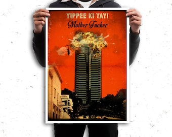 Die Hard retro vintage style poster movie. Nakatomi building. Available in different sizes. Digital Art. Vintage quote print