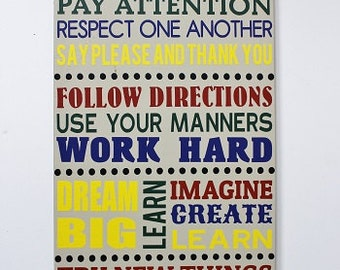 Classroom Rules Sign, wooden sign, wood sign, Teacher Gift