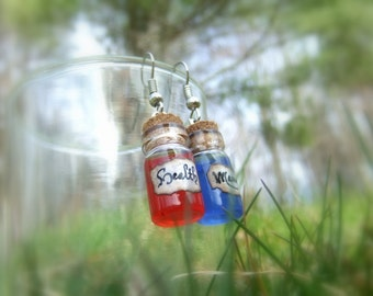 Health and Mana Potion Glass Vial Earrings (Tiny Cork Bottle), Red & Blue, Video Game Inspired