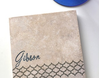 Personalized Coasters, Quatrefoil Coasters, Grey Wedding Gift, Lattice Coasters, Custom Wedding Gift