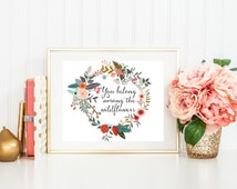 Floral Quote Printable Art Print 8x10 You Belong Among the Wildflowers Floral Wreath Bohemian Wall Art Bohemian Printable Feather Print