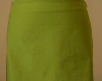 Low waist green cotton miniskirt