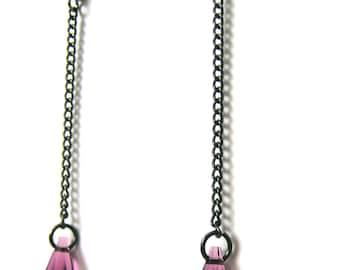 Purple and Black Dangle Earrings - Purple Crystal Earrings - Black Chain Earrings - Long Earrings - Amethyst Purple