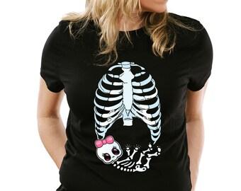 Halloween Maternity Shirt Skeleton Baby Girl Cute pregnant mom infant shower gift T-shirt tee Shirt Baby Girl Funny Ladies cool MLG-1085