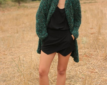 Long chunky cardigan, forest green long sweater, chunky knit sweater, knitted coat knit jacket, handmade winter cardigan